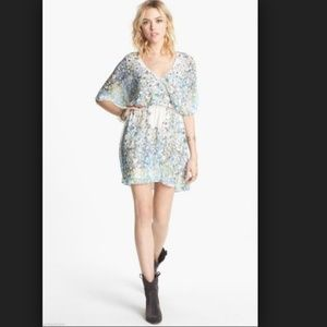 Free People Floral Sparks Fly Mini Cape Dress